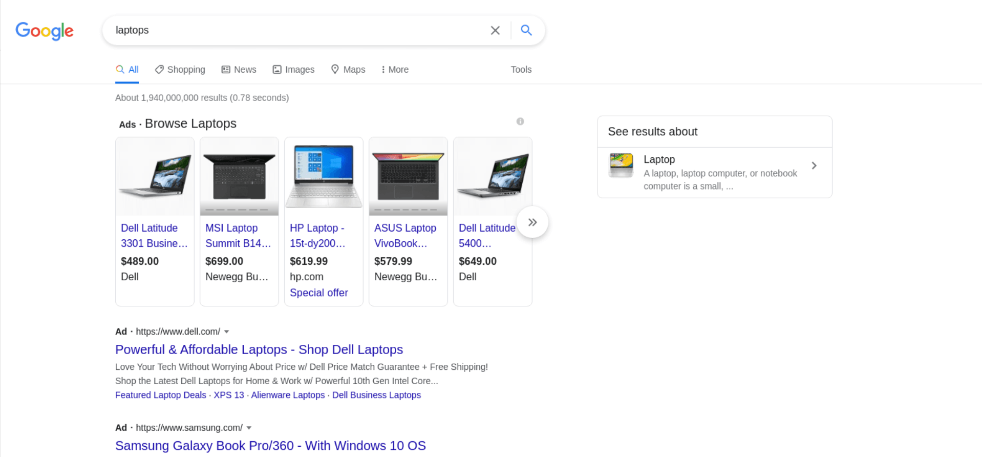 Ad Results example
