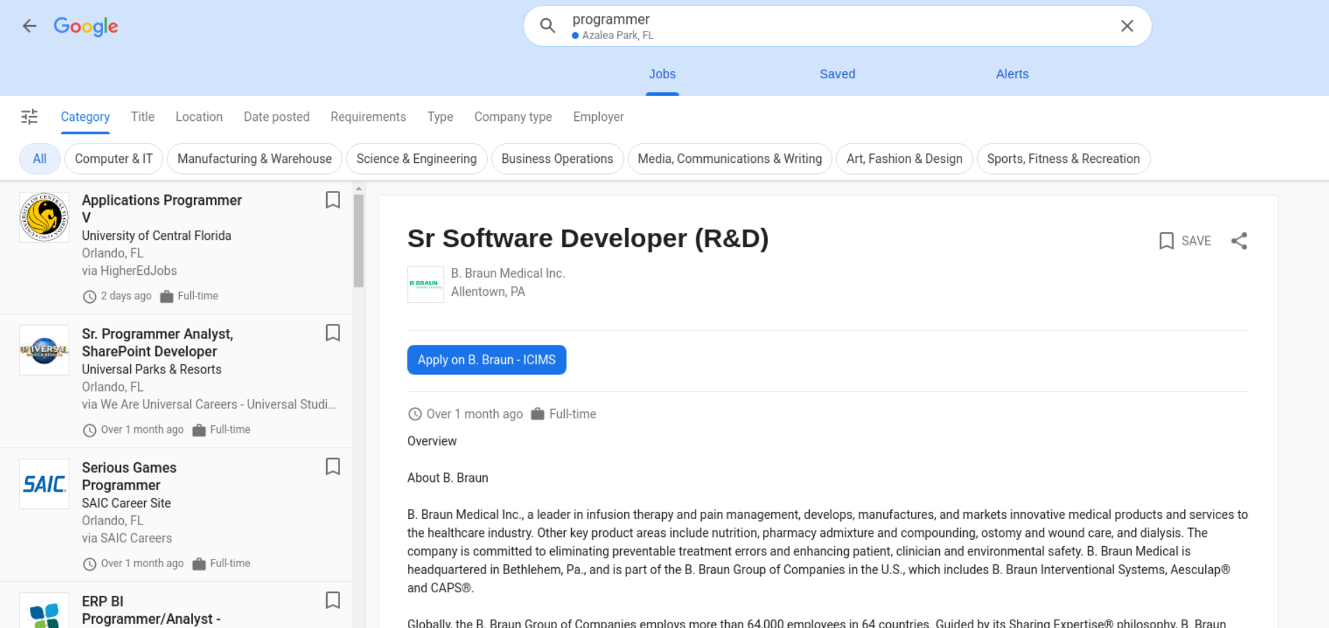 Google Jobs Listing API example