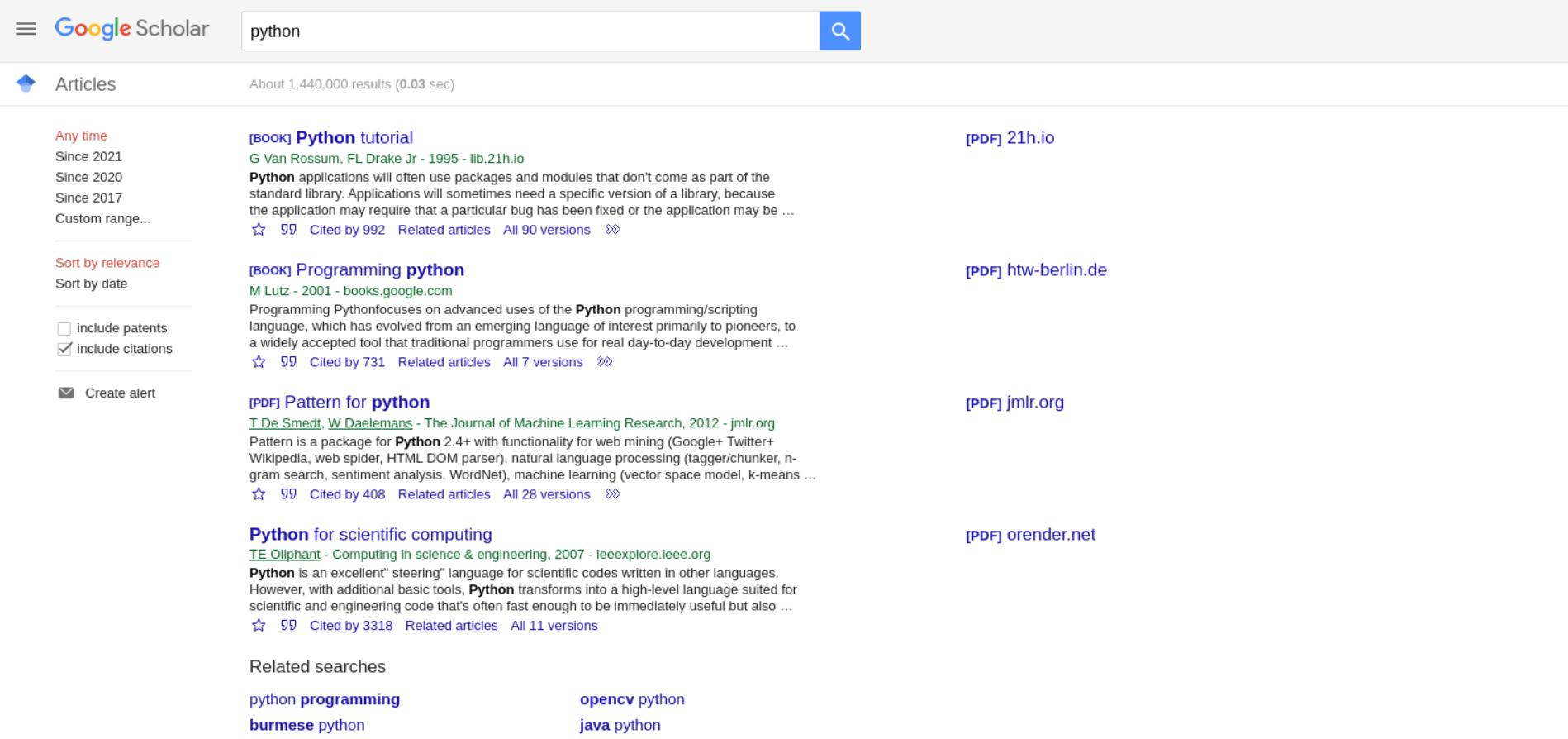 Google Scholar API example