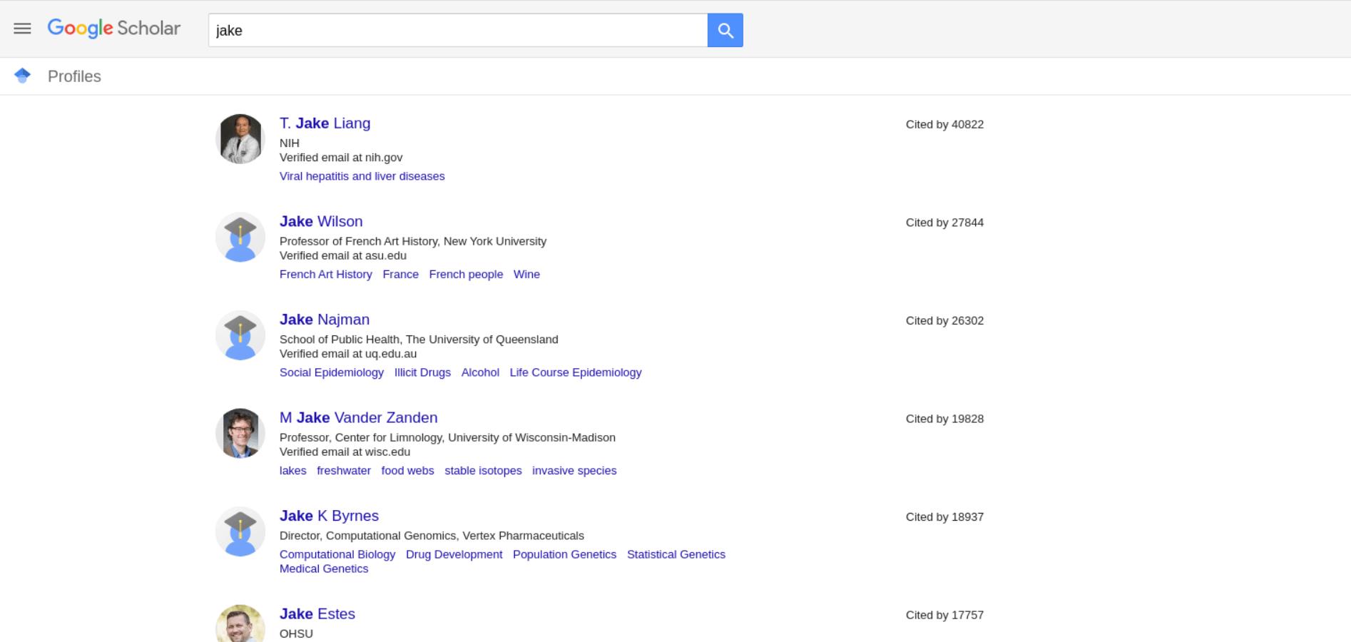 Google Scholar Profiles API example