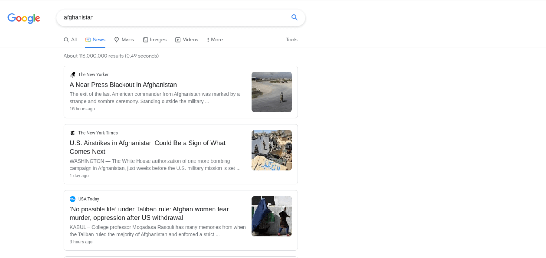 News Results example