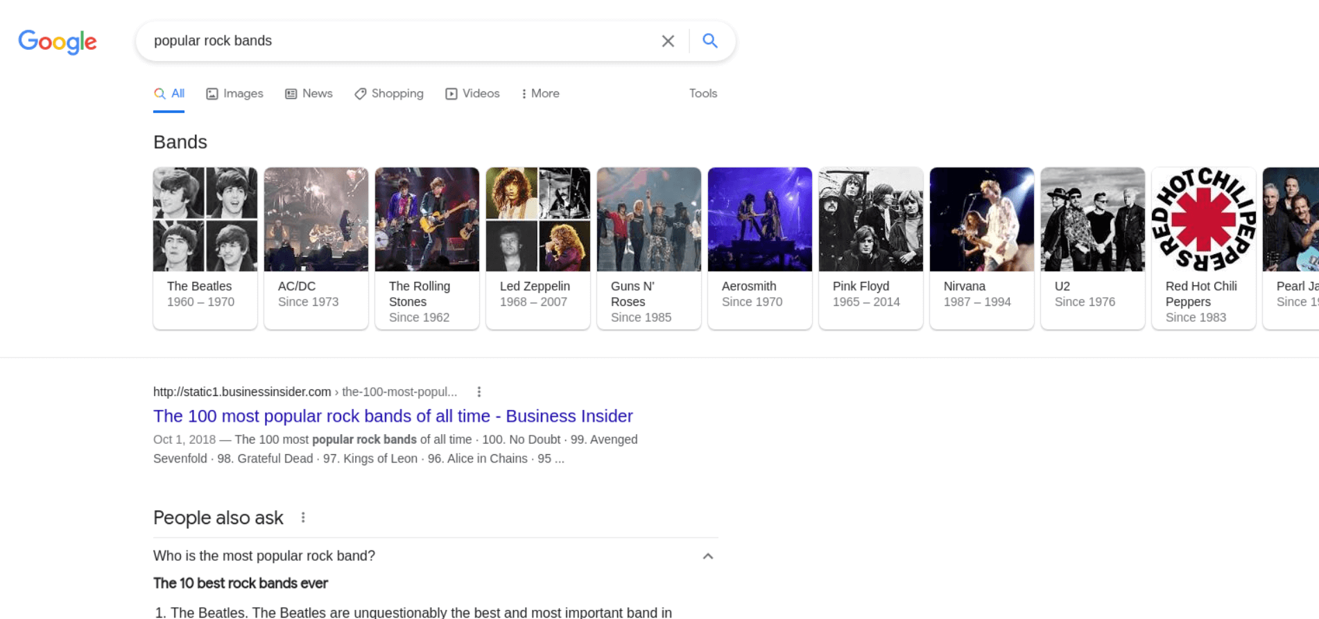 Top Carousel Results example