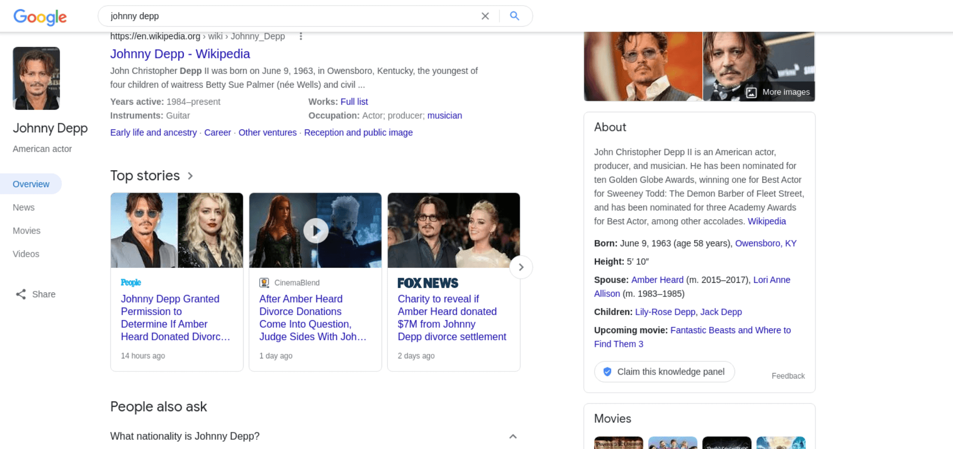 Top Stories Results example