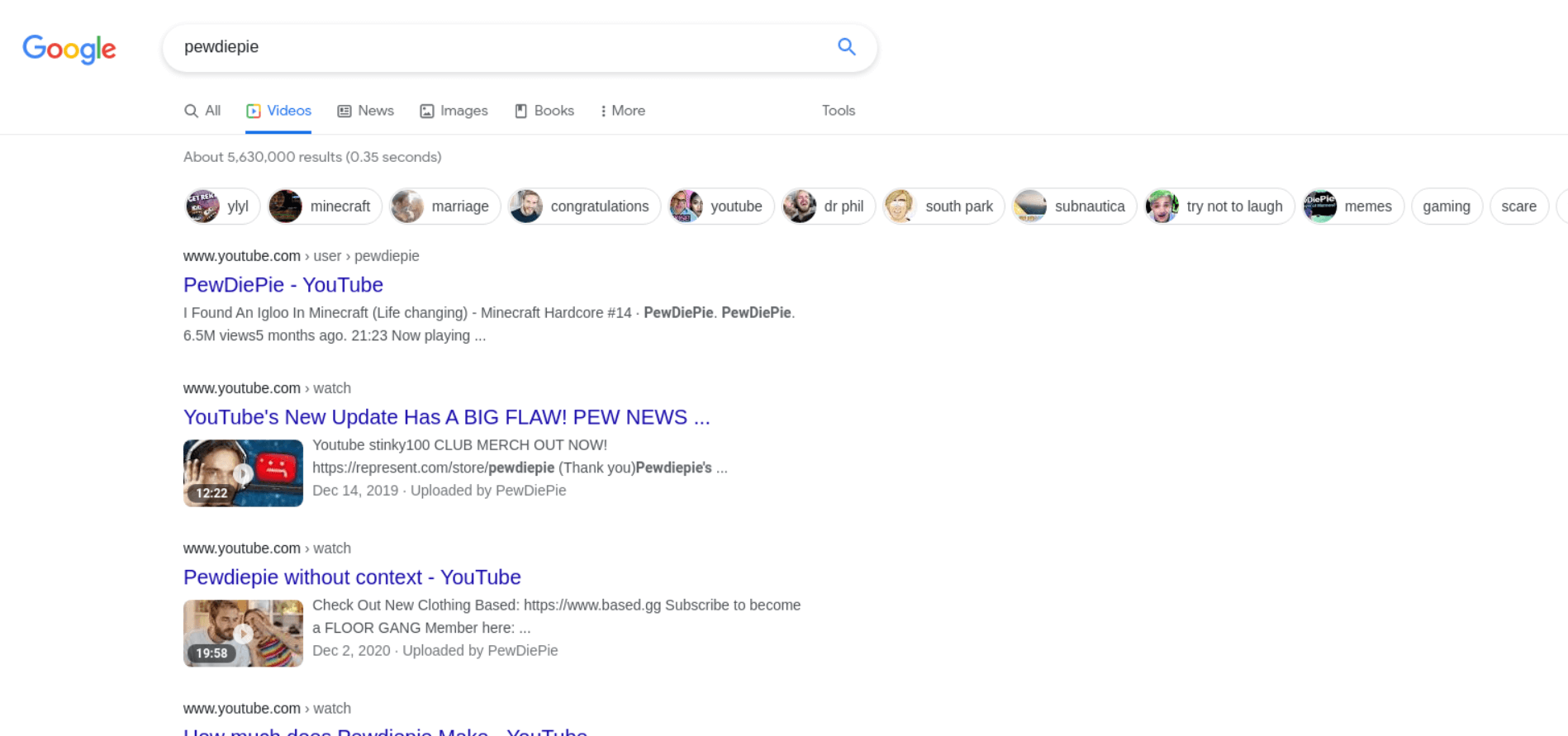 Video Results example